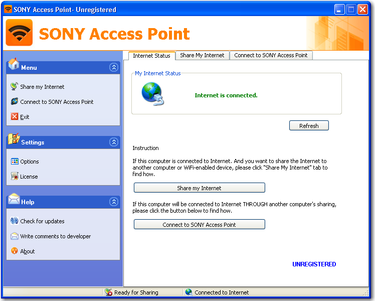 Main window of SONY Access Point